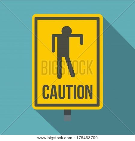 Yellow caution zombie sign icon. Flat illustration of yellow caution zombie sign vector icon for web isolated on baby blue background