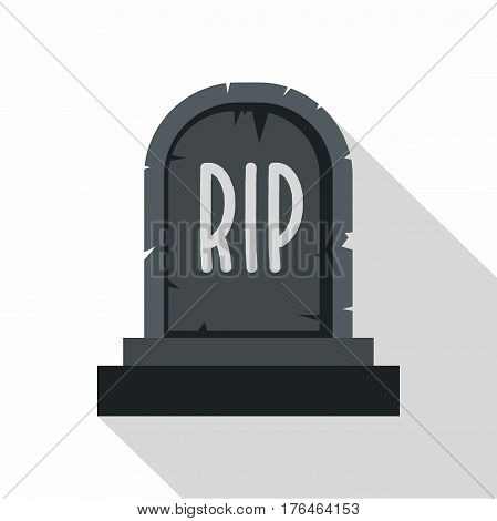 Stone tombstone rip icon. Flat illustration of stone tombstone rip vector icon for web isolated on white background