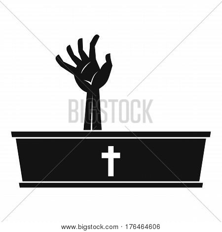 Zombie hand coming out of his coffin icon. Simple illustration of zombie hand coming out of his coffin vector icon for web