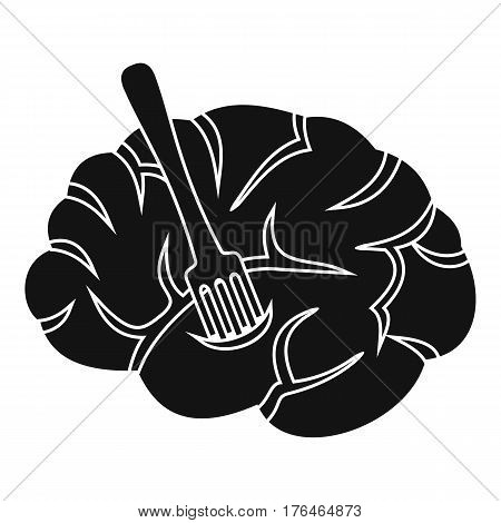 Fork is inserted into the brain icon. Simple illustration of fork is inserted into the brain vector icon for web