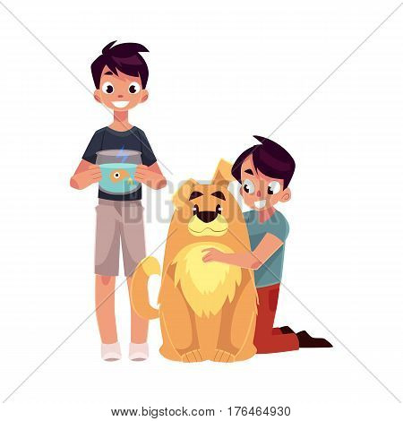 Two teenage boys, children, kids, one hugging big fluffy dog, another holding fish bowl, cartoon vector illustration isolated on white background. Two boys with pets - big brown dog and golden fish
