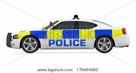 Police Car isolated on background. 3D render
