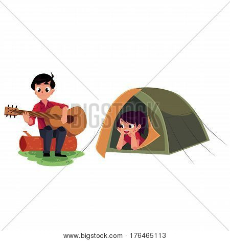 Camping kids - boy and girl playing guitar and looking out of tent, cartoon vector illustration isolated on white background. Kids camping, hiking, playing guitar and listening lying in tent