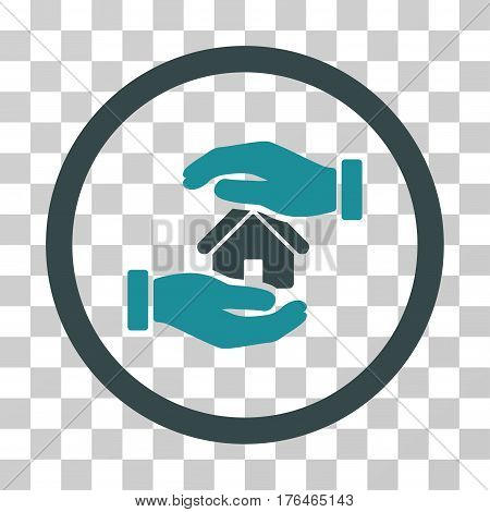 Realty Insurance Hands icon. Vector illustration style is flat iconic bicolor symbol soft blue colors transparent background. Designed for web and software interfaces.