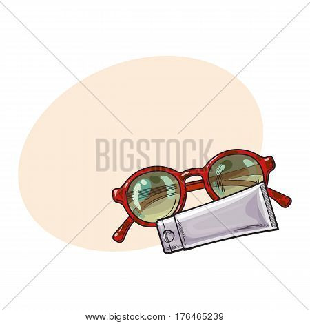 Round sunglasses in plastic frame and sun tan lotion, cream tube, sketch vector illustration i with place for text. Hand drawn round glamorous sunglasses and lotion tube, beach, summer vacation