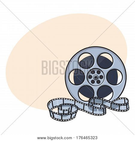Classical motion picture, cinema film reel, sketch style vector illustration with place for text. Hand drawn film reel, cinema object, footage material