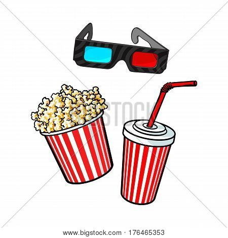Cinema objects - popcorn bucket, 3d glasses and soda water in paper cup, sketch vector illustration isolated on white background. Typical movie attributes like popcorn, soda, glasses