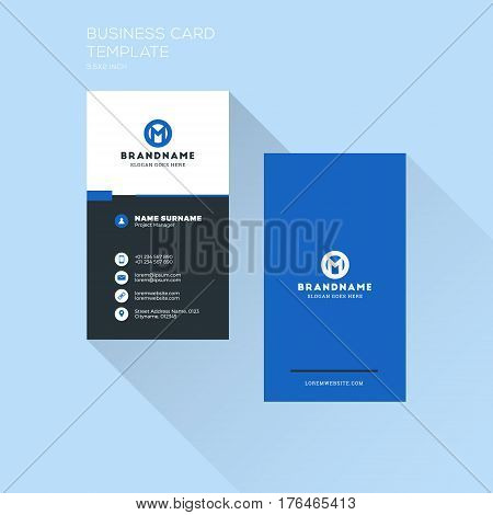 Vertical Business Card Print Template. Personal Visiting Card With Company Logo. Clean Flat Design.