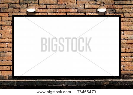 Huge poster advertising billboard on brick wall with lamp Advertising poster sign Template mockup for adding your design and text.
