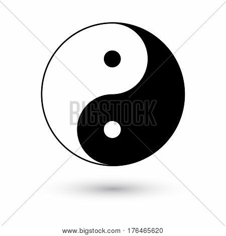 Ying yang symbol vector illustration with shadow