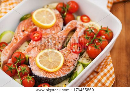 Raw Fresh Salmon And Vegetables Before Cooking