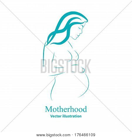 Vector illustration of a sketch of a pregnant woman. Isolated white background. The concept of motherhood. Logo icon side view, profile.