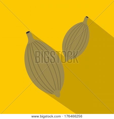 Green cardamom pods icon. Flat illustration of green cardamom pods vector icon for web isolated on yellow background