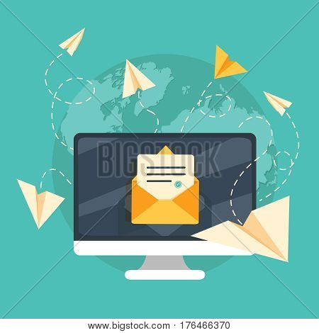 Mails flying around the world as the paper airplanes. Vector illustration.