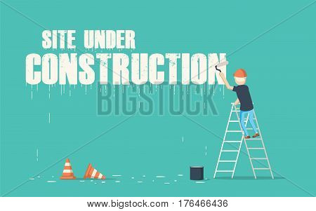 Painter painting the word site under construction on a wall. Vector artwork depicts work in progress.