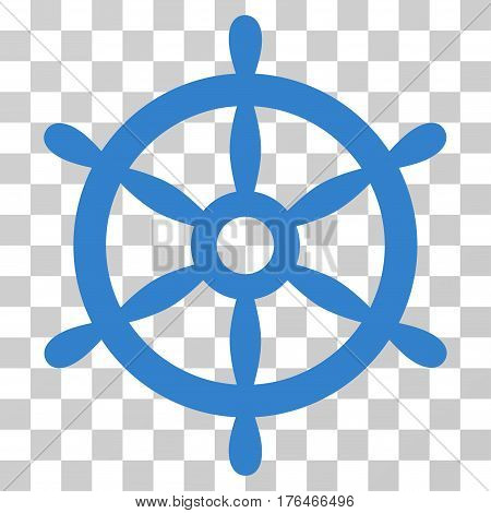 Boat Steering Wheel icon. Vector illustration style is flat iconic symbol cobalt color transparent background. Designed for web and software interfaces.