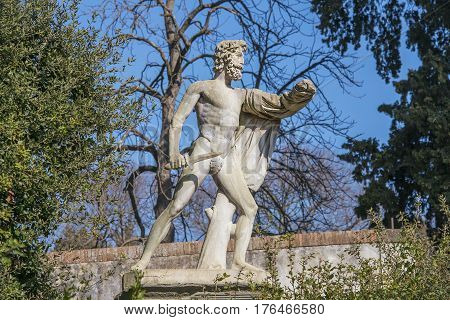 FLORENCE, ITALY - February 02, 2017: antique park sculpture in the Boboli Gardens, Florence, Italy