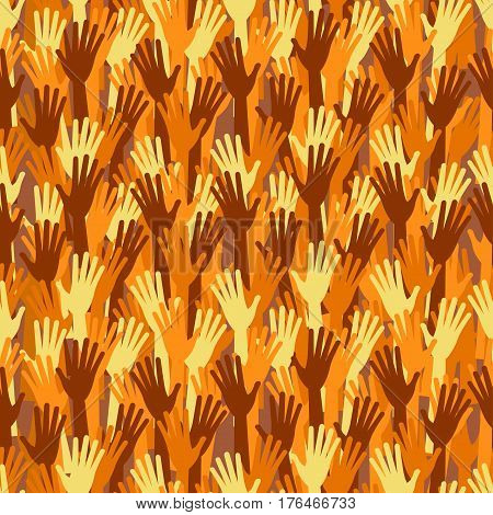 Seamless Pattern With Different Races, Colors, Nationalities Hands Up.