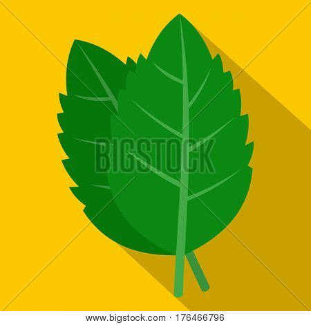 Fresh green basil leaves icon. Flat illustration of fresh green basil leaves vector icon for web isolated on yellow background