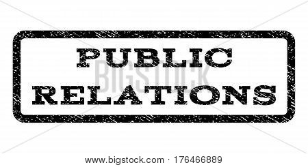 Public Relations watermark stamp. Text caption inside rounded rectangle frame with grunge design style. Rubber seal stamp with unclean texture. Vector black ink imprint on a white background.