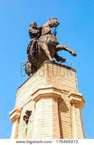 TOGLIATTI RUSSIA - MAY 18 2014: Equestrian statue to the founder of Togliatti Vasily Tatishchev. Monument was unveiled on September 2 1998