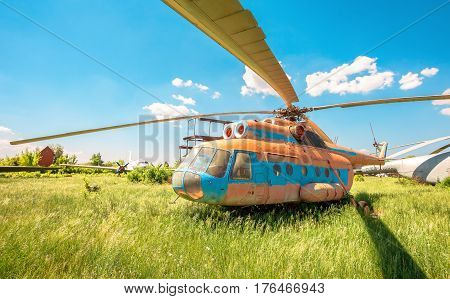 SAMARA RUSSIA - MAY 25 2014: The russian transport helicopter Mi-6 at an abandoned aerodrome. The Mil Mi-6 was built in large numbers for both military and civil roles