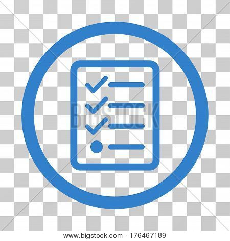Checklist icon. Vector illustration style is flat iconic symbol cobalt color transparent background. Designed for web and software interfaces.
