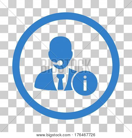 Help Desk Manager icon. Vector illustration style is flat iconic symbol cobalt color transparent background. Designed for web and software interfaces.