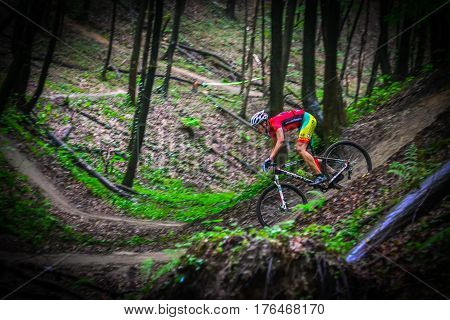 Lviv Ukraine - August 17 2016: MTB cyclist A. Pavlovskyi competing in the forest near Lviv in Ukraine at 4th round of amateur xc cup of Ukraine 2016.