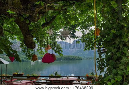 Romantic Cafe At  At Hallstaettersee Lake. Hallstatt, Salzkammergut Region, Austria