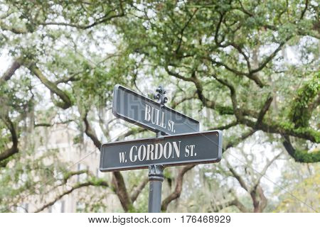 Street Name Signs Historic District Savannah Ga Us