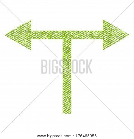Bifurcation Arrows Left Right vector textured icon for overlay watermark stamps. Fabric light green vectorized texture. Symbol with dust design. Rubber seal stamp with fiber textile structure.