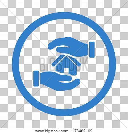 Realty Insurance Hands icon. Vector illustration style is flat iconic symbol cobalt color transparent background. Designed for web and software interfaces.