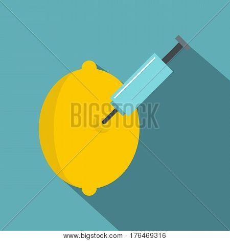 Injection of lemon icon. Flat illustration of injection of lemon vector icon for web isolated on baby blue background