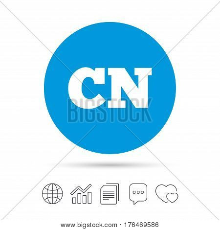 Chinese language sign icon. CN China translation symbol. Copy files, chat speech bubble and chart web icons. Vector