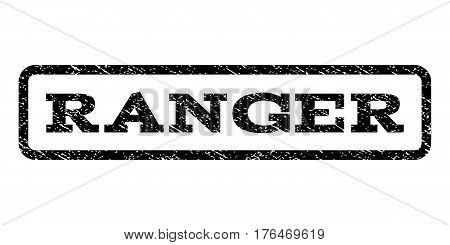 Ranger watermark stamp. Text caption inside rounded rectangle frame with grunge design style. Rubber seal stamp with dirty texture. Vector black ink imprint on a white background.