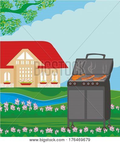 Illustration of backyard barbecue on rural landscape