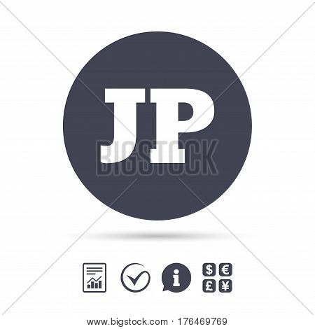 Japanese language sign icon. JP Japan translation symbol. Report document, information and check tick icons. Currency exchange. Vector