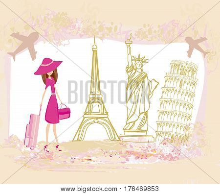 Travel girl design with different monuments , vector illustration
