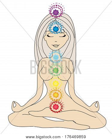Yoga girl in lotus position , vector illustration
