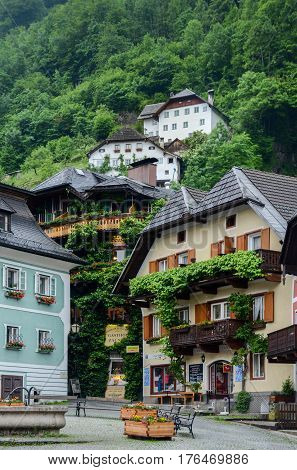 Cafes And Restaurants At Main Town Square Of Hallstatt, Salzkammergut Region, Austria