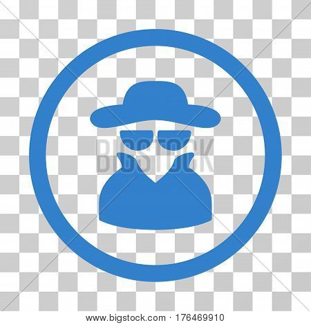 Spy icon. Vector illustration style is flat iconic symbol cobalt color transparent background. Designed for web and software interfaces.