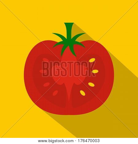 Red half of tomato icon. Flat illustration of red half of tomato vector icon for web isolated on yellow background