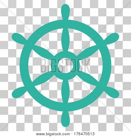 Boat Steering Wheel icon. Vector illustration style is flat iconic symbol cyan color transparent background. Designed for web and software interfaces.