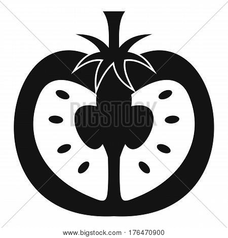 Half of tomato icon. Simple illustration of half of tomato vector icon for web