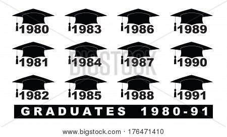 Text With Graduation Hat  1980-1991 Set On A White Illustration