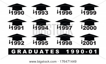 Text With Graduation Hat  1990-2001 Set On A White Illustration