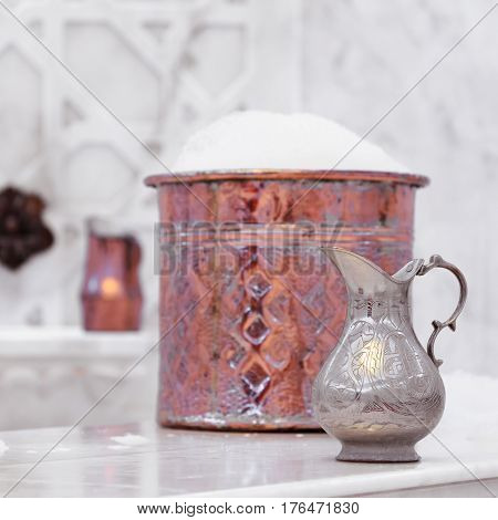 Water Jar And Copper Bowl With Soap Foam In Turkish Hamam. Traditional Interior Details