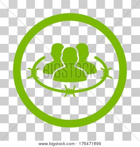 Concentration Camp icon. Vector illustration style is flat iconic symbol eco green color transparent background. Designed for web and software interfaces.