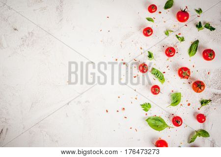 Cooking Food Background With Tomatoes And Greens